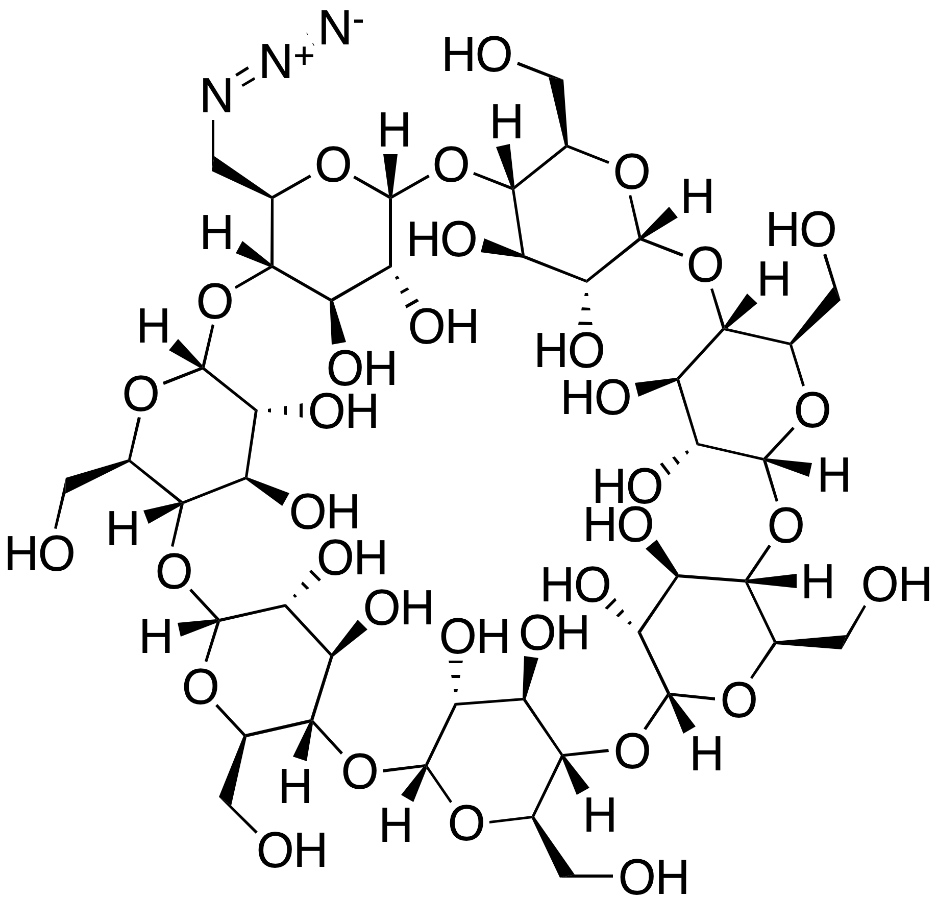 Mono-6-deoxy-6-azido-β-cyclodextrin (85%)